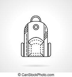 apartamento, mochila, vetorial, desenho, linha, ícone