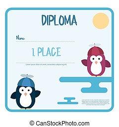 apartamento, modelo, de, diploma, decorado, com, pingüins, stylized, como, um, crianças, com, hélice, hat.