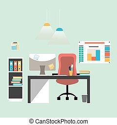 apartamento, modernos, desenho, workspace, ilustração