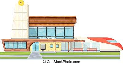 apartamento, modernos, estação, frente, estrada ferro, vista