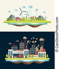 apartamento, modernos, ilustração, ecológico, desenho, conceitual
