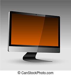 apartamento, monitor, editable, lcd, vetorial, arquivo