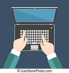 apartamento, monitor, eps10, ilustração, teclado portátil, mão, vetorial, em branco, homem negócios, tela