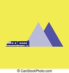 apartamento, montanha, aeroporto, trem, desenho, ícone