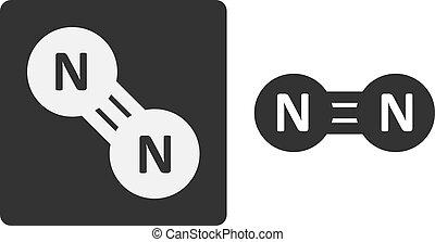 apartamento, mostrado, molécula, (n2), gás, átomos, circles...