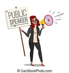 apartamento, mulher, announcement., activist., speaker., concept., comunicar, isolado, ilustração, público, shouting, através, femininas, social, protest., megafone, alto, caricatura, vector.