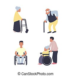 apartamento, mulher, antigas, wheelchair., set., após, caminhante, vetorial, ferimento, macho sênior, reabilitação, cane., homem