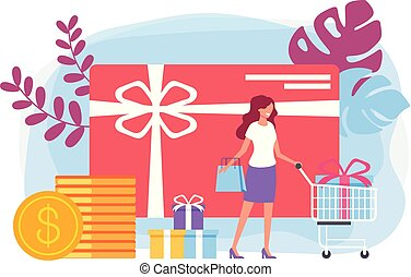 apartamento, mulher, bags., oferta, bandeira, concept., gráfico, personagem, ilustração, caricatura, vetorial, desenho, especiais, cartaz, shopping, vender, consumidor, sorrindo, cartão, feliz