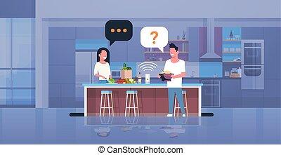 apartamento, mulher, cheio, alimento, par, modernos,...
