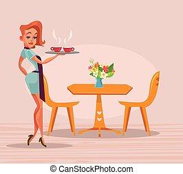 apartamento, mulher, coffee., copo, garçom, personagem, ilustração, vetorial, sorrindo, ter, bandeja, caricatura, feliz