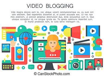 apartamento, mulher, computador, femininas, teia, pessoal, blogger, concept., blogger., caricatura, vetorial, vídeo, canal, modelo, tela, blogging, broadcasting., illustration.