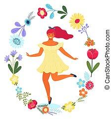 apartamento, mulher, illustration., coloridos, modernos, vetorial, flor, modelo, circle., feliz