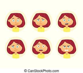 apartamento, mulher, jogo, expression., ilustração, avatar., vetorial, desenho, emotions., facial, menina