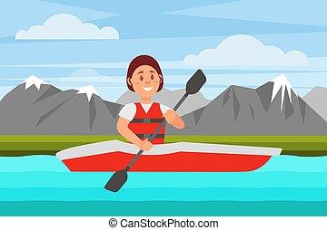 apartamento, mulher, natural, alegre, vetorial, desenho, vermelho, kayak., ativo, rio, montanhas., recreation., paisagem, natação