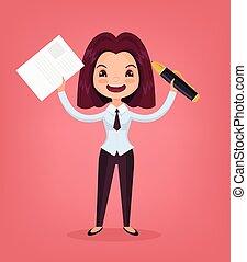 apartamento, mulher, personagem, trabalhador, ilustração, gerente, vetorial, documento, caricatura, signature., dá