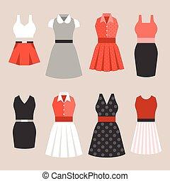 apartamento, mulher, vindima, vetorial, desenho, vestido, estilo