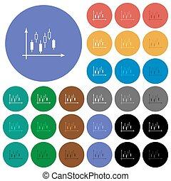 apartamento, multi coloriu, ícones, gráfico, machados, candlestick, redondo