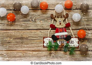 apartamento, natal, cópia, bolas, tabela., madeira, frame., vista., configuração, fundo, veado, espaço, inverno, topo, decoração feriado