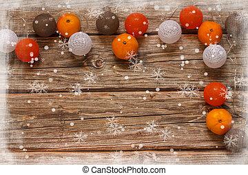 apartamento, natal, cópia, bolas, tabela., madeira, frame., vista., mandarines, configuração, fundo, espaço, inverno, topo, decoração feriado