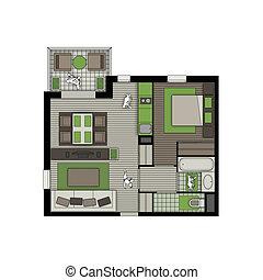 apartamento, naturaleza, dos, cuartos, interior, balcón
