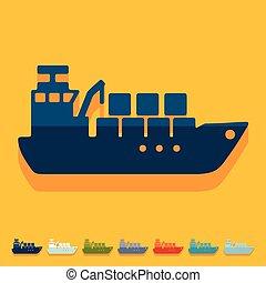 apartamento, navio, design:, carga