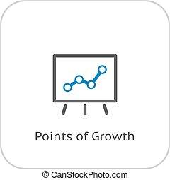 apartamento, negócio, concept., pontos, crescimento, icon., design.