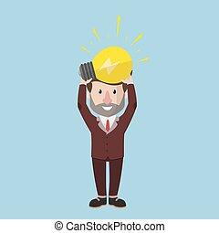 apartamento, negócio, lâmpada, bulbo, ter, homem