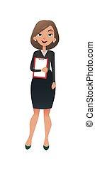 apartamento, negócio mulher, escritório, sucedido, escritório., personagem, jovem, tarefa, femininas, pronto, manager., senhora, caricatura, esperto, secretária