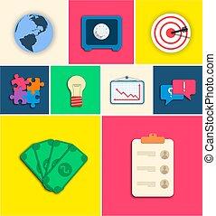 apartamento, negócio, set., ilustração, vetorial, desenho, ícone