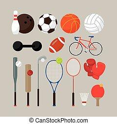 apartamento, objetos, jogo, equipamento, esportes