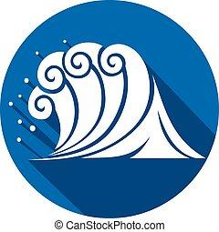 apartamento, (ocean, wave), onda, mar, ícone