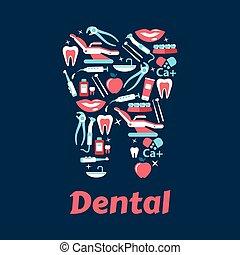apartamento, odontologia, dente, silueta, ícones
