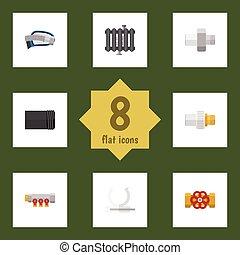 apartamento, oleoduto, jogo, elements., canalização, pipework, inclui, cano, também, vetorial, ondulado, objects., controlador, outro, aquecedor, ícone