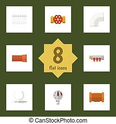 apartamento, oleoduto, jogo, lançar, elements., pressão, pressão, radiador, também, vetorial, ferro, escala, objects., inclui, outro, ícone