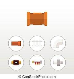 apartamento, oleoduto, jogo, torneira, elements., termostato, inclui, conector, também, vetorial, cano, objects., controlador, plástico, outro, ícone
