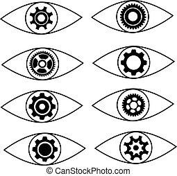 apartamento, olho, engrenagem, símbolo, vetorial, desenho, set., ícone