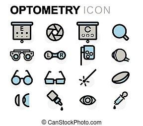 apartamento, optometry, jogo, ícones, vetorial, linha