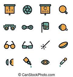 apartamento, optometry, vetorial, jogo, ícones