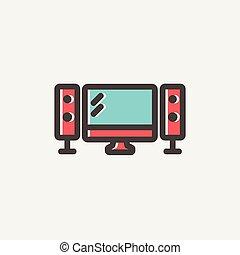 apartamento, oradores, tela, linha magra, televiison, ícone
