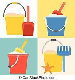 apartamento, pá, balde, desenho, brinquedos, praia, ícone