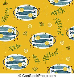 apartamento, padrão, peixe, mão, jantar, vetorial, desenhado