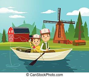 apartamento, pai, ilustração, filho, fishing., vetorial, caráteres, caricatura