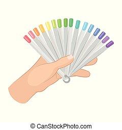 apartamento, paleta, mulher, falso, segurando, manicure., cor, cartaz, mão, prego, unhas, s, vetorial, promo, polishes., elemento, voador, ou