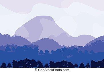 apartamento, panorama, montanha, ilustração, paisagem, céu