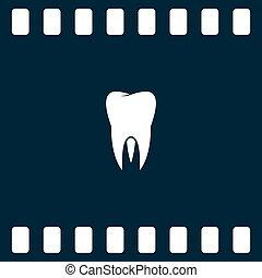 apartamento, papel, corte, estilo, ícone, de, tooth., odontologia, símbolo