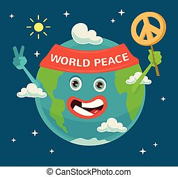 apartamento, peace., character., ilustração, planeta, vetorial, terra, mundo, day., caricatura, feliz