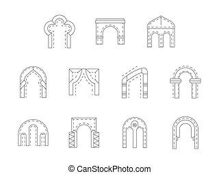 apartamento, pedra, jogo, ícones, archway, vetorial, linha