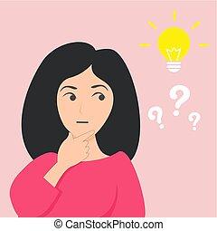apartamento, pensamento mulher, vetorial, idéia
