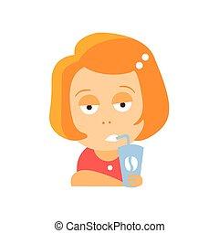 apartamento, pequeno, bebendo, personagem, cabeça, ilustração, bitchy, vetorial, café, retrato, menina, rosto, vestido, caricatura, vermelho, emoji