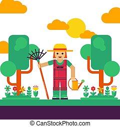 apartamento, personagem, flores, paisagem, vetorial, árvores, jardinagem, lata, estilo, ancinho, jardim, simples, jardineiro, illustration., geomã©´ricas, caricatura, aguando, ferramentas, desenho, scene.